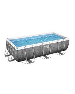 Struttura e liner piscina fuori terra rattan scuro 404x201x100 cm