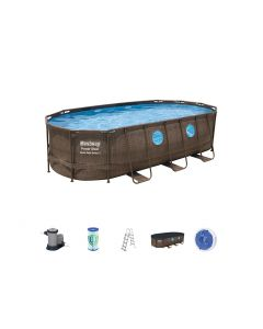 Piscina Power Steel Swim Vista ovale in acciaio 549x274x122 cm
