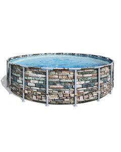Piscina base e struttura Power Steel rotonda effetto pietra  549x132 cm