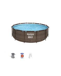 Piscina fuori terra rotonda Steel Pro MAX rattan da 366x100 cm
